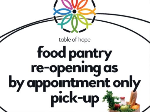 food pantry reopening logo